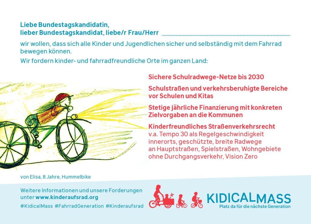 Kidical Mass Postkarte Forderungen Bundestagswahl